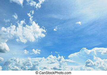 Beautiful sunny blue sky & clouds in summer