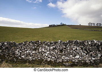 Beautiful sunny landscape of Peak District in UK with famous stone walls