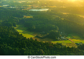 beautiful sunrise aerial scene of traditional rural landscape with green fields, houses and road in Asia, Japan