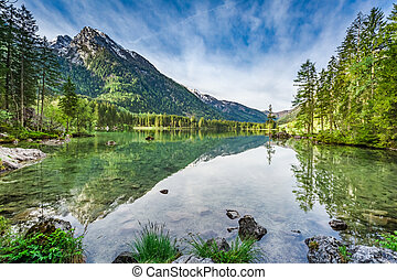 Beautiful sunrise at Hintersee lake in Alps, Germany, Europe