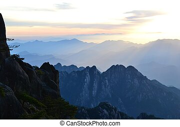 Beautiful sunrise at Huangshan Yellow mountain in Anhui province, China, Asian landscape