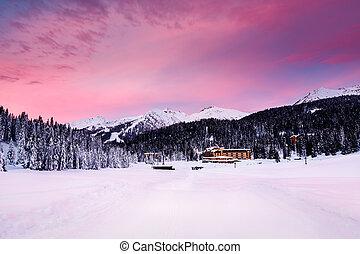 Beautiful Sunrise at Ski Resort of Madonna di Campiglio,...