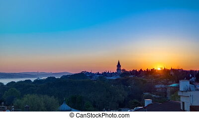 Sunrise at the Istanbul from top with Bosphorus Bridge and Topkapi Palace Museum timelapse - Istanbul - Turkey