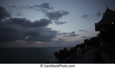 Beautiful sunrise fluffy clouds in sky. Ocean. Nature. Beauty. Timelapse