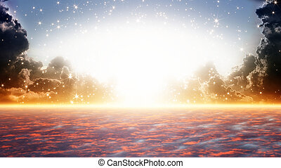 Peaceful background - beautiful sunrise, bright sun beam, heaven