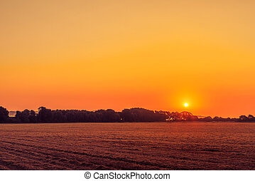 Beautiful sunrise in a countryside landscape