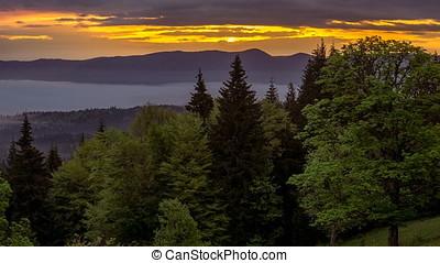 Beautiful sunrise in Carpathian mountains of Ukraine.