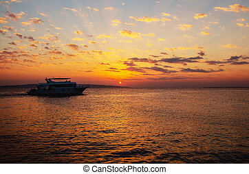 Beautiful sunrise in Egypt on the beach.