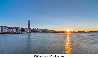 Beautiful sunrise in Grand canal over San Marco square timelapse. View from Church of Santa Maria della Salute, Venice, Italy, European Union.