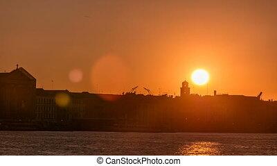 Beautiful sunrise in Grand canal over Venice near San Marco...