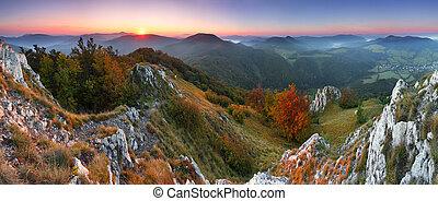 Beautiful sunrise in mountain valley  - Slovakia