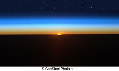 Colorful and realistic sunrise with starfield as seen in outer space