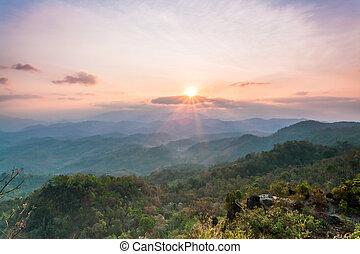Beautiful sunrise in the mountains landscape
