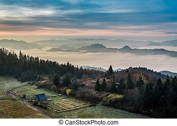 Beautiful sunrise in the Tatra Mountains in autumn