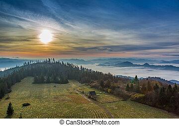 Beautiful sunrise in the Tatra Mountains in autumn, Poland