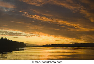 beautiful sunrise in White sea, Karelia, Russia