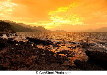 Beautiful sunrise landscape image at Coast