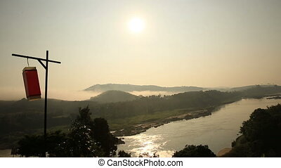 landscape of Mekong river - beautiful sunrise landscape of ...