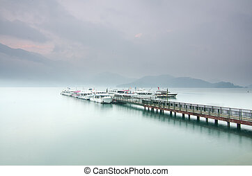 Beautiful sunrise of Sun Moon Lake in Taiwan - Beautiful...