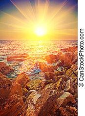 beautiful sunrise on a sea instagram stile