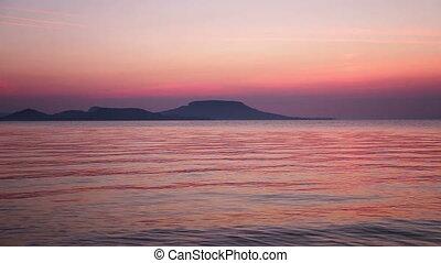 Beautiful sunrise on lake Balaton of Hungary