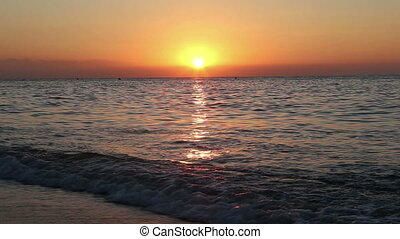 Beautiful sunrise on the beach. Costa del Sol (Coast of the...