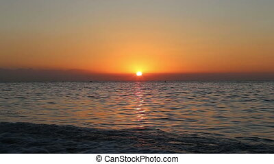 Beautiful sunrise on the beach. ?Costa del Sol?(Coast of the...