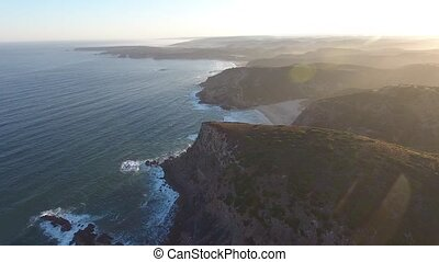 Beautiful sunrise on the beach. Portugal Vicentina Aerial.