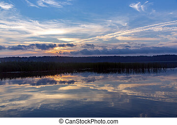 Beautiful sunrise on the Gauja river - Beautiful sunrise -...