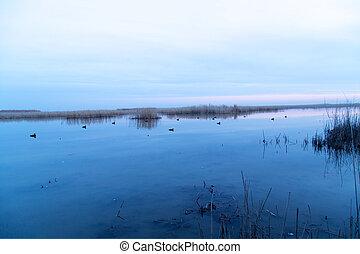 beautiful sunrise on the lake