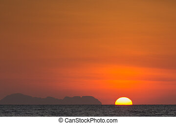 Beautiful sunrise over Andaman Sea, Phuket South of Thailand