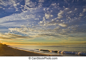 beautiful sunrise over Californian ocean coast