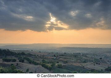 Beautiful sunrise over  countryside landscape