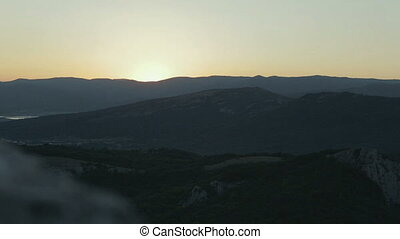 Beautiful sunrise over Crimean Mountains. - Beautiful...