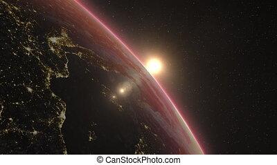 Beautiful sunrise over Earth, 3D animation