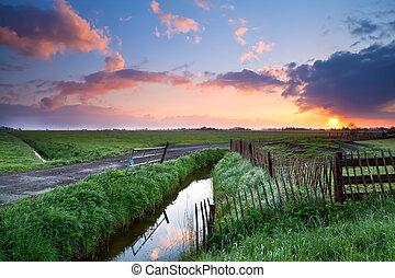 beautiful sunrise over farmland