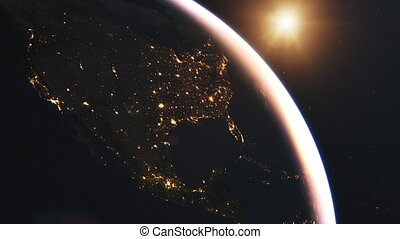Beautiful Sunrise over North America from space - 4K...