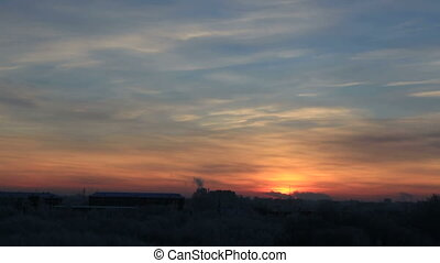 Beautiful sunrise over the city Omsk. Time Lapse