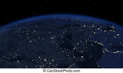 Beautiful Sunrise over the Earth. Cities at Night. HD 1080.
