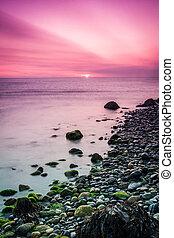 Beautiful sunrise over the Irish Sea at Bray