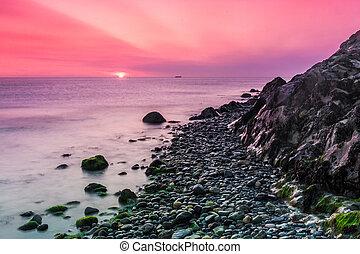 Beautiful sunrise over the Irish Sea at Bray Head