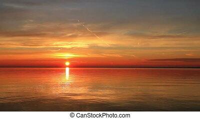 Beautiful sunrise over the lake Bal