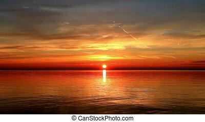 Beautiful sunrise over the lake