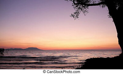 Beautiful sunrise over the lake Balaton of Hungary
