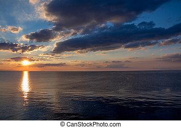 Beautiful sunrise over the sea. Ucraine, Crimea. - Beautiful...