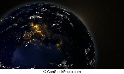 Beautiful sunrise. Planet earth in the night and daytime.