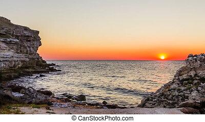 Beautiful Sunset Above Black Sea At Rocky Beach At Tarkhankut