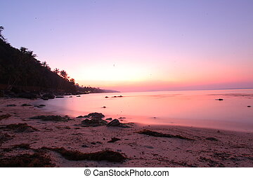Beautiful sunset above the sea on island in Koh Samui