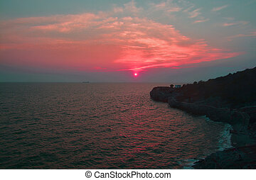 Beautiful Sunset above the sea, Thailand