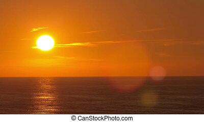 Beautiful sunset above the sea timelapse